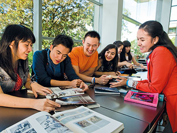 International students studying in a group