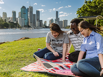 International Students hanging out at Kangaroo Point, Brisbane